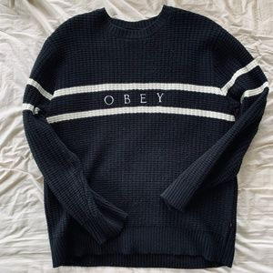 Men's black Obey knitted crewneck sweater